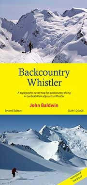 Back Country Whistler BC skiing map. Backcountry Whistler is a topographic route map for the mountains of northern Garibaldi Park adjacent to and beyond Whistler-Blackcomb ski resort. Route information for ski mountaineering, back country skiing, steep sk