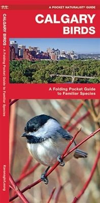 Calgary Birds pocket guide. The familiar magpie is one of over 200 of species of birds inhabiting the diverse ecosystems found throughout the Calgary region. This beautifully illustrated guide highlights over 140 familiar and unique species and includes a