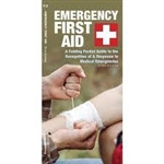 Emergency First Aid pocket guide. Emergency First Aid is a pocket-sized, folding reference guide on how to recognize and respond to common medical emergencies. It will allow the user to check for vital signs and assess the severity of medical emergencies