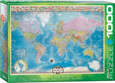 "World Map Flags Puzzle 1000 Pieces. Finished size 19.25"" x 26.5"". A beautifully rendered map of the world including comprehensive data on population and area plus political and geological features, plus country flags. Strong high-quality puzzle pieces. Ma"