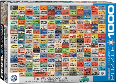 VW Volkswagen Groovy Bus - 1000 Piece Puzzle. Relive the times when a vehicle was so much more than simply a mode of transportation. The groovy bus was a home, camper, political statement and much more to an entire generation. Strong high-quality puzzle p