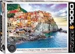 Manarola Cinque Terre Italy Mediterranean Oasis - 1000 Piece Puzzle. Take in the breathtaking beauty of the majestic Italian coastline where days gone by are still alive and well. Strong high-quality puzzle pieces.This superior quality puzzle will delight