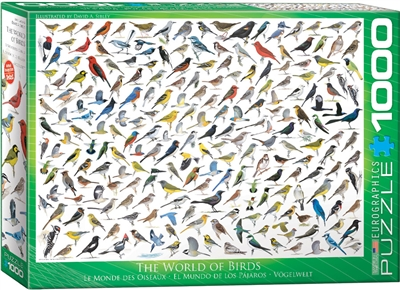 "The World of Birds - 1000 Piece Puzzle. Finished Puzzle Size: 19.25"" x 26.5"". This collage of birds is sure to be a bit with any bird watcher, showing well over 100 types of various birds .Strong high-quality puzzle pieces. Made from recycled board and pr"
