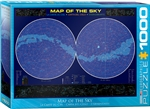 "TMap of the Sky - 1000 Piece Puzzle. Finished Puzzle Size: 19.25"" x 26.5"". Images of The Northern and Southern Hemispheres include constellations, double or multiple stars, variable stars, galaxies, diffuse and planetary nebulae, Milky Way Galaxy, open cl"
