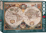 "Antique World Map Puzzle 1000 Pieces. Finished size 19.25"" x 26.5"". This map was first issued in the Mercator-Hondius Atlas in the 1630 edition, in response to Willem Blaeu. Portraits of Julius Caesar, Ptolemy, Hondius and Mercator ornate the decorative b"