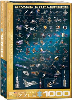 "Space Explorers - 1000 Piece Puzzle. Finished Puzzle Size: 19.25"" x 26.5"". Featuring over 40 space engines and explorers, this jigsaw puzzle will please any space exploration enthusiast. Strong high-quality puzzle pieces. Made from recycled board and prin"
