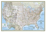 USA Classic - National Geographic Wall Map. Our most popular United States wall map. Features all 50 States with insets for Alaska and Hawaii. All major cities, transportation routes, State boundaries, National Parks, inland waterways, and mountain ranges