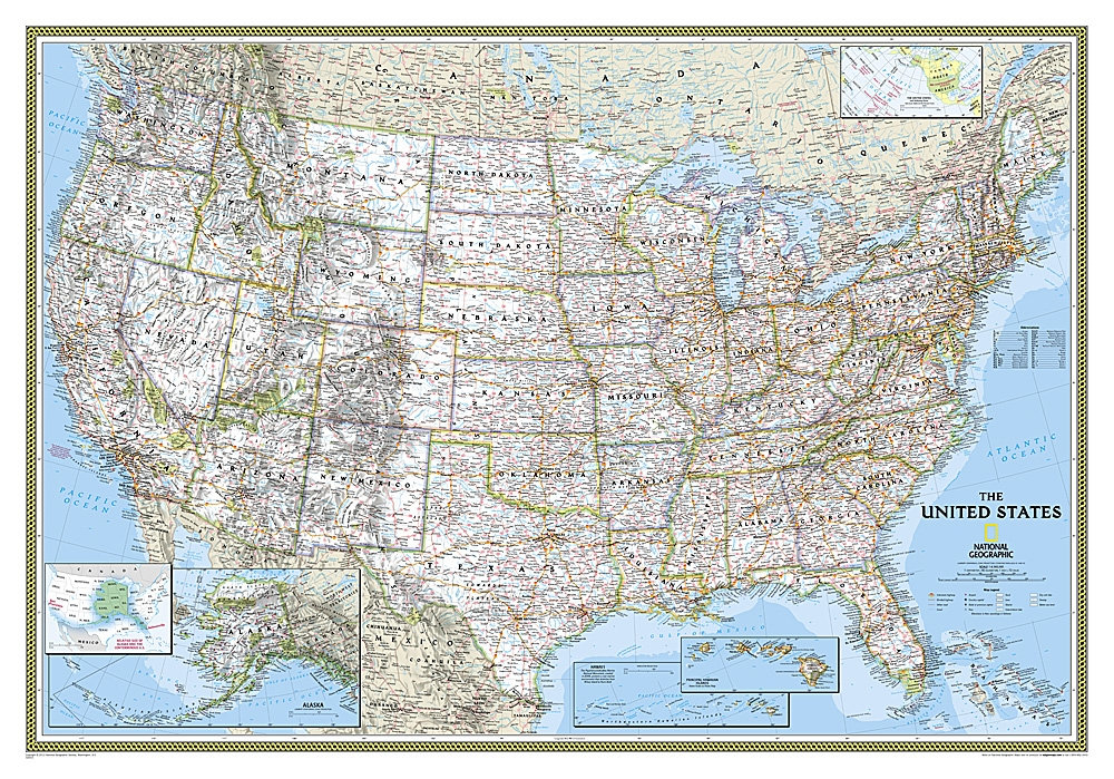 USA Clic - National Geographic Wall Map Us Map Zoomed In Hawaii on us map zoom in, united states zoomed in, europe map zoomed in, world map zoomed in,