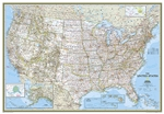 USA Classic - National Geographic Wall Map XL. Our most popular United States wall map. Features all 50 States with insets for Alaska and Hawaii. All major cities, transportation routes, State boundaries, National Parks, inland waterways, and mountain ran
