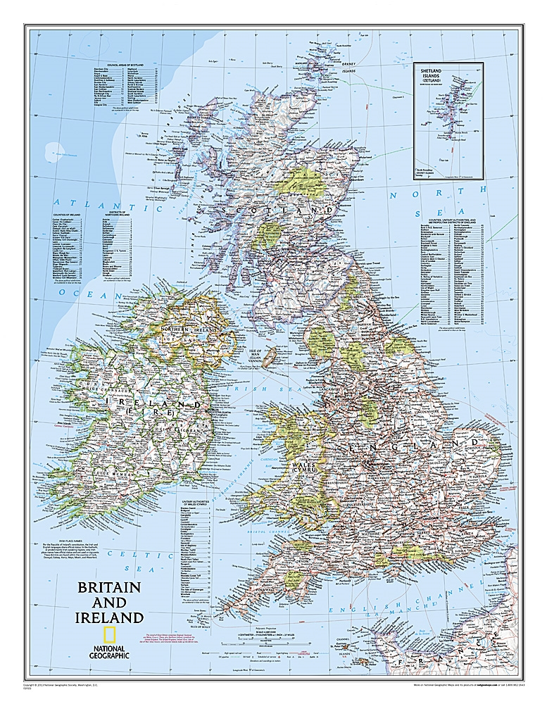 Map Of Ireland Highways.Britain And Ireland Classic National Geographic Wall Map