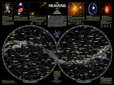 The Heavens - National Geographic Wall Map. The stars of earth's night sky seem to hang like tranquil lanterns, filling us with wonder. They inspire great works of art, and tempt our imaginations into creating stories and myths from the shapes we see. The