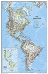 The Americas Classic - National Geographic Wall Map. This beautiful display wall map shows North, Central and South America. Shows political boundaries, major cities, and physical map inset of the area.