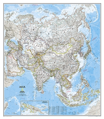 Asia Classic National Geographic Wall Map. Asia Classic Wall Map Large. This large detailed National Geographic cartography includes country boundaries, place names, bodies of water, and more for the entire Asian continent. Great for the home or office.