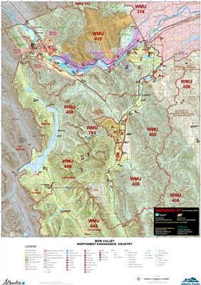 Bow Valley NW Kananaskis WMU Map.  The maps shows the boundary for Kananaskis Country, the Public Land Use Zones, crown land, private or freehold land, park boundaries, wildlife corridors and sanctuaries, camping spots, trailheads, roads, atv trails, hiki