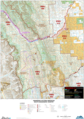 Highwood & Plateau Mountain South Kananaskis WMU Map. The maps shows the boundary for Kananaskis Country, the Public Land Use Zones, crown land, private or freehold land, park boundaries, wildlife corridors and sanctuaries, camping spots, trailheads, road