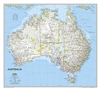 Australia Political Wall Map - National Geographic. One of the most authoritative maps of the Land down under. Features thousands of place names (including primary and secondary towns), accurate boundaries, aboriginal lands, parks and protected areas, inf