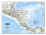 Central America Classic - National Geographic Wall Map. Map coverage includes the countries of: Guatemala, Belize, El Salvador, Honduras, Nicaragua, Costa Rica, and Panama. Our most detailed wall map of Central America, extensively updated with new Nation