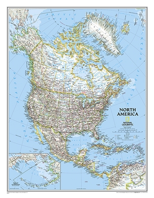 North America Political Wall Map - National Geographic. This political map of North America features trademark National Geographic detail and accuracy. The map shows country boundaries, place names, major highways and roads, bodies of water, and more. An