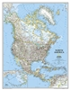 North America Political National Geographic Wall Map. This political map of North America features trademark National Geographic detail and accuracy. The map shows country boundaries, place names, major highways and roads, bodies of water, and more. An in