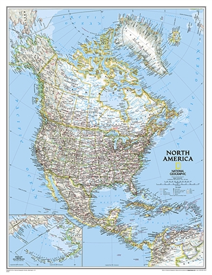 North America Political National Geographic Wall Map XL. The political map of North America features trademark National Geographic detail and accuracy. The map shows country boundaries, place names, major highways and roads, bodies of water, and more. An