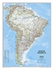 South America Classic National Geographic Wall Map. This classic map of South America shows political boundaries, place names, airports, major roads and highways, and other geographic features for the entire continent. Includes the countries and major cit