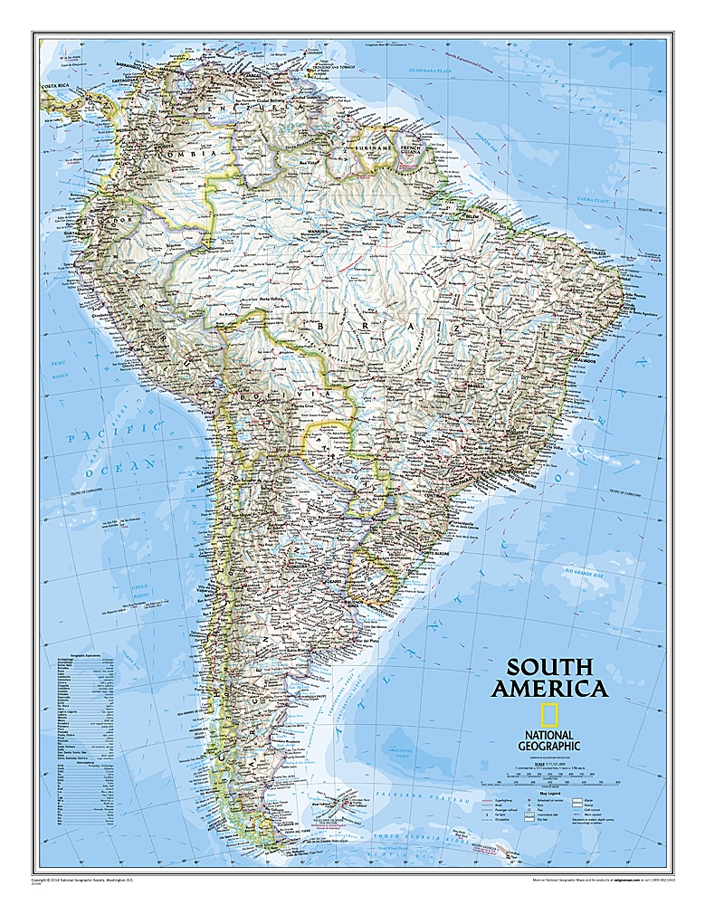 South America Classic National Geographic Wall Map