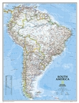 South America Political National Geographic Wall Map. This classic map of South America shows political boundaries, place names, airports, major roads and highways, and other geographic features for the entire continent. This version is enlarged. Choose p