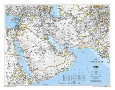 Middle East Political Wall Map - National Geographic. This wall map covers a broad geographic area ranging from northern Africa through the Middle East to the western edge of China and India. Includes complete coverage of Afghanistan, Pakistan, Tajikistan