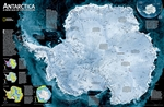 Antarctica Satellite Wall Map - National Geographic. A striking view of Antarctica's terrain, compiled from 4,500 satellite scans. Additional inset maps show surface elevation, ice sheet thickness, velocity of ice flow, and sea ice movement and wind flow.
