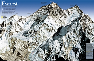 Mount Everest Wall Map - 50th Anniversary National Geographic. As seen in the May 2003 issue of NATIONAL GEOGRAPHIC, this double-sided map celebrates the 50th anniversary of Sir Edmund Hillary's ascent to the summit of Mt. Everest. SIDE ONE: A view of the