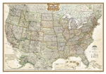 USA Executive National Geographic Wall Map. The rich tones of this Political Executive map combine the popular antique look with up-to-date information so that you have a map that is elegant enough for the board room, study, or office, and contemporary en