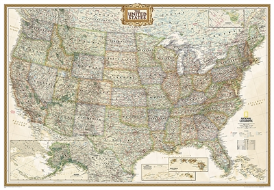 USA Executive National Geographic Wall Map Enlarged
