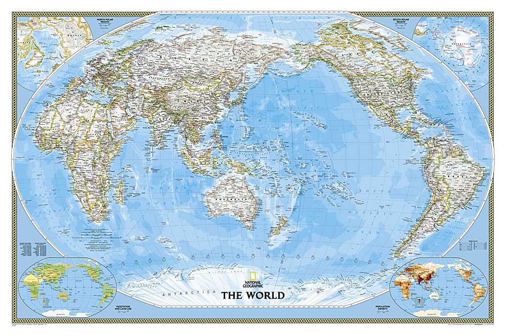 World classic pacific centered national geographic wall map publicscrutiny Images