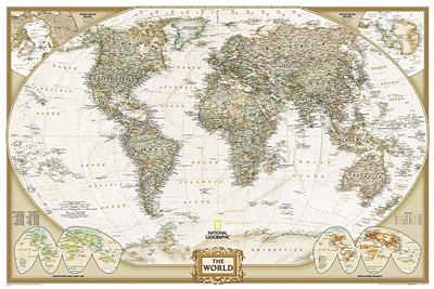World Executive National Geographic Wall Map Poster. This elegant, richly colored antique-style world map features the incredible cartographic detail that is the trademark quality of National Geographic. The map features a Tripel Projection, which reduces