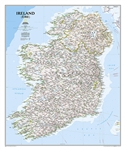 Ireland Political Wall Map - National Geographic. This classic-style Ireland wall map is one of the most authoritative maps yet published of the Emerald Isle. Of the nearly 1,000 place-names shown on this map, all within the Republic of Ireland adhere to
