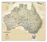 Australia Executive Wall Map - National Geographic. Highly accurate Australia executive style political map clearly shows state boundaries, place names, bodies of water, parks and preserves, and more. Includes inset maps for Tasmania and major Australian