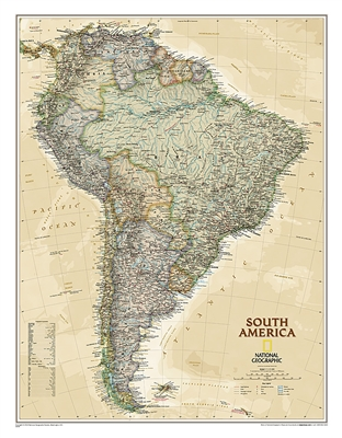 South America Executive National Geographic Wall Map. This elegant, richly colored antique-style map features the incredible cartographic detail that is the trademark of National Geographic quality. This map of South America shows political boundaries, pl