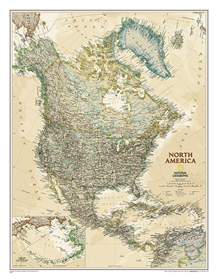 North America Executive Wall Map Wall Map - National Geographic. Our executive style political map of North America features country boundaries, place names, bodies of water, airports, major highways and roads, and much more.