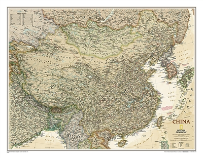 China Executive National Geographic Wall Map