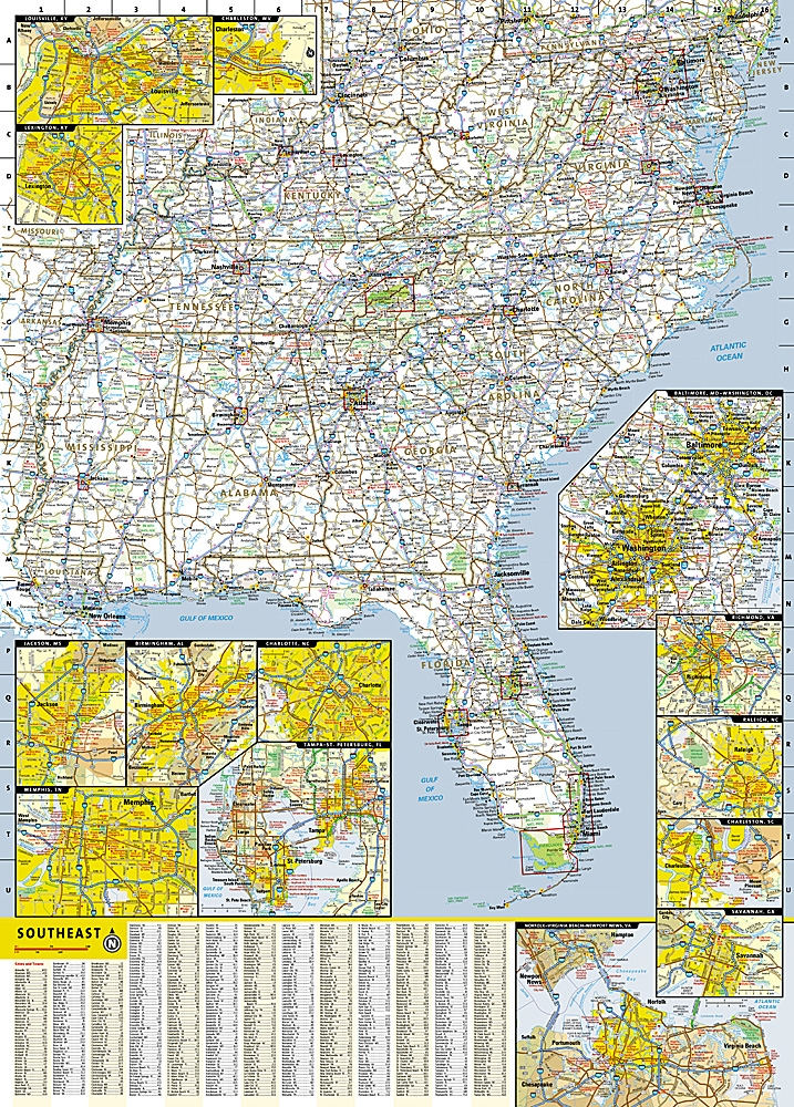 Southeastern United States National Geographic State Guide Map