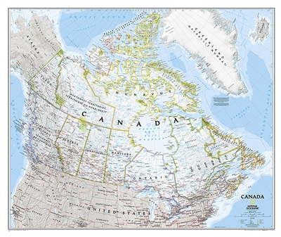 Canada Political Wall Map - National Geographic. This classic-style wall map of Canada features thousands of place names, accurate political boundaries, national parks, archaeological sites, and major infrastructure networks such as roads, canals, ferry r