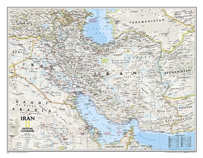 Iran Classic National Geographic Wall Map. This wall map of Iran features the classic National Geographic reference styling. Includes hundreds of place names, accurate political boundaries, national parks, archaeological sites, and major infrastructure ne