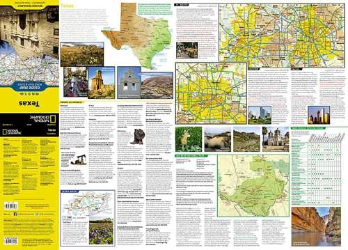 Texas National Geographic State Guide Map The Front Side Is An Easy