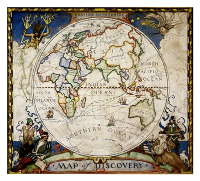 Map of Discovery - Eastern Hemispheres National Geographic