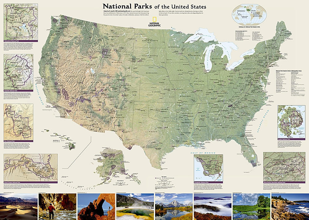 Usa National Parks Wall Map National Geographic