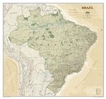 Brazil Executive Wall Map - National Geographic. National Geographic's Brazil Executive wall map is fittingly one of the largest maps available of the largest country by area in South America, and the fifth largest in the World. It shows the entire countr