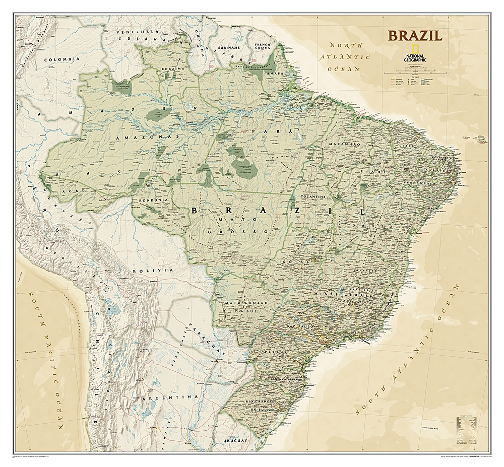 Brazil executive national geographic wall map gumiabroncs Gallery
