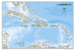 Caribbean Political Wall Map - National Geographic. One of the most authoritative maps for the islands of the Caribbean Sea. It shows the entire region in great detail, with coverage extending from the tip of Florida to the northern extents of Colombia an