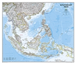 SE Asia Political Wall Map - National Geographic. The Southeast Asia map is a detailed classic style reference map containing detailed bathymetric data and current political boundaries, as well as thousands of place names. Also shown are the regions updat