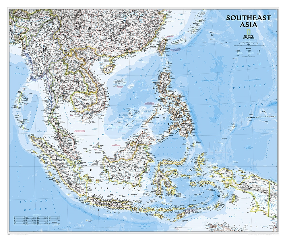 SE Asia Political Wall Map - National Geographic